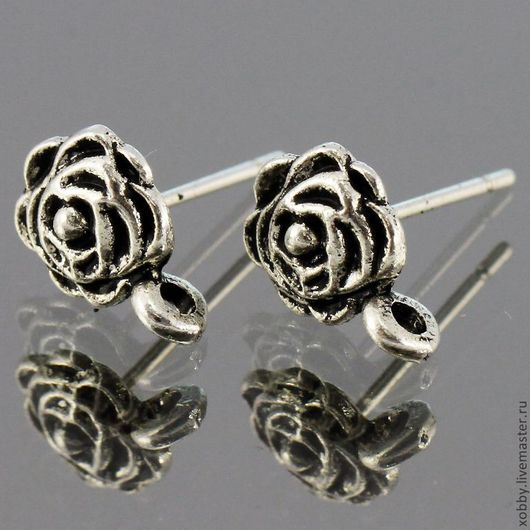 Основа для сережек гвоздиков пуссеты Роза с петелькой для крепления подвески Материал сплав с покрытием Цвет Античное серебро