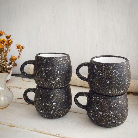 """Кружки и чашки ручной работы. Ярмарка Мастеров - ручная работа. Купить Чашка """"Звездное небо"""". Handmade. Черный, подарок, кухня"""