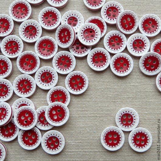 Пуговицы круглые красно-белые 13 мм