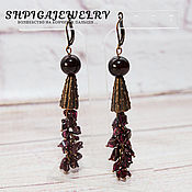 Украшения handmade. Livemaster - original item Long earrings with natural garnet