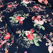 Материалы для творчества handmade. Livemaster - original item Fabric: Lightweight suit neoprene-Flowers on dark blue. Handmade.