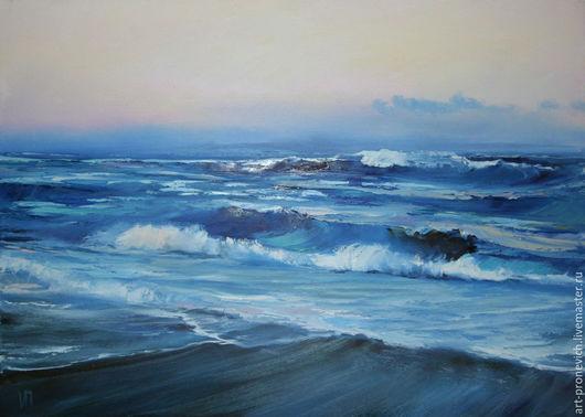 Пейзаж ручной работы. Ярмарка Мастеров - ручная работа. Купить У самого синего моря. Handmade. Синий, берег, волны