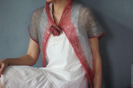 Шали, палантины ручной работы. Ярмарка Мастеров - ручная работа. Купить Шаль с розой. Handmade. Серый, мини-шаль