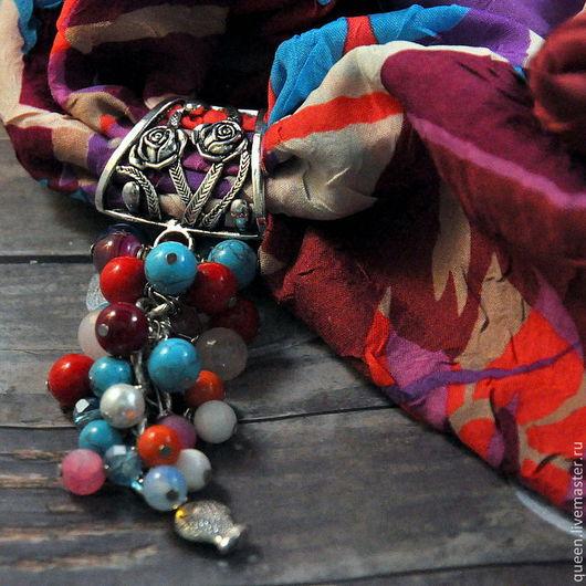 красное море, коралл, бирюза, говлит, турквенит, лунный камень, жемчуг, платок-колье, шарф-колье