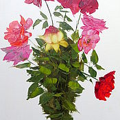 Картины и панно handmade. Livemaster - original item Picture Bouquet of garden roses. Handmade.