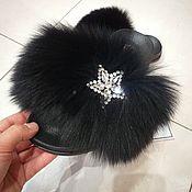 Обувь ручной работы handmade. Livemaster - original item Finnish auction Arctic Fox fur flip flops. Handmade.