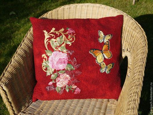 Текстиль, ковры ручной работы. Ярмарка Мастеров - ручная работа. Купить подушка декоративная. Handmade. Бордовый, вышивка, розы, наволочка
