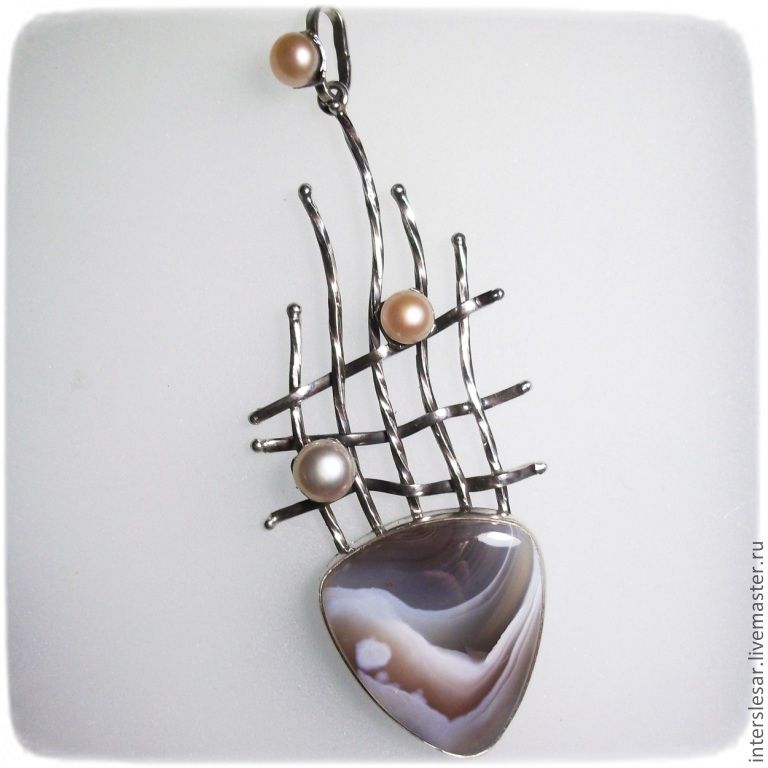The suspension is'Fish' with agate and pearls, Pendants, Moscow,  Фото №1