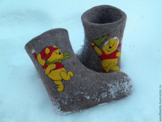 """Обувь ручной работы. Ярмарка Мастеров - ручная работа. Купить Валенки  детские """" Winnie-the-Pooh"""". Handmade. Серый"""