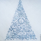Подарки к праздникам handmade. Livemaster - original item Christmas Napkin with Embroidery