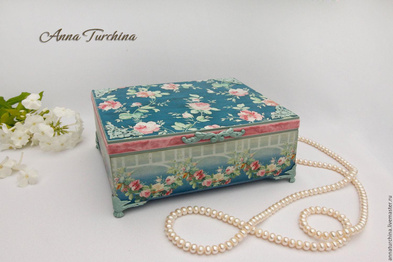 """Купить """"Нежность роз"""" шкатулка - синий, голубой, розовый, розы, шкатулка, шкатулка для украшений"""