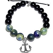 Украшения handmade. Livemaster - original item Anchor charm bracelet with kyanite and black agate. Handmade.