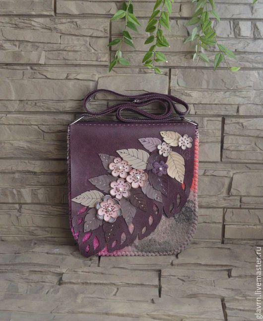 """Женские сумки ручной работы. Ярмарка Мастеров - ручная работа. Купить Сумка """"Сливовый цвет.... Handmade. Разноцветный, веточка с цветами"""