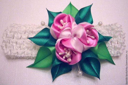 """Повязки ручной работы. Ярмарка Мастеров - ручная работа. Купить Повязочка для волос канзаши """"Тюльпаны"""". Handmade. Розовый, тюльпан канзаши"""