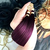 Украшения handmade. Livemaster - original item Earrings-brush Katris Marsala Burgundy wine Majorca silk gilding. Handmade.