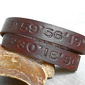 Украшения handmade. Livemaster - original item Personalized Leather Bracelet, Coordinates Latitude Longitude.. Handmade.