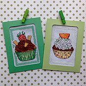 Открытки handmade. Livemaster - original item Cross stitch greeting card Sweet temptation. Handmade.