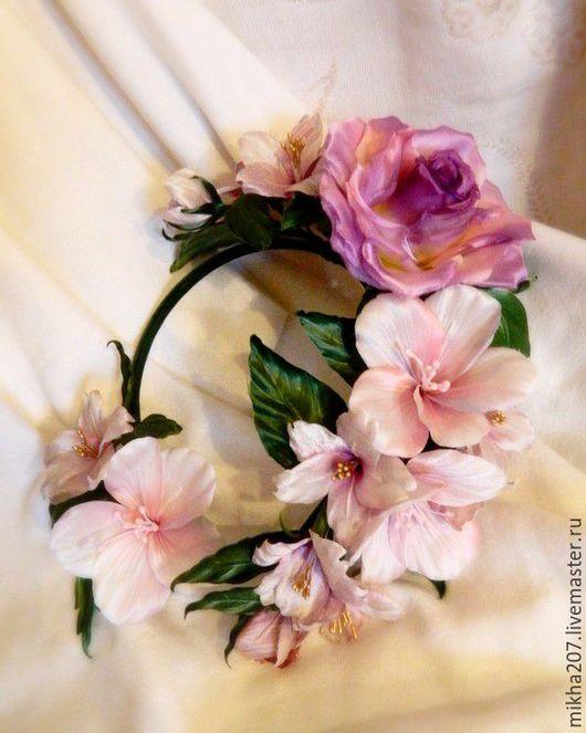Свадебные украшения ручной работы. Ярмарка Мастеров - ручная работа. Купить Цветение весны.Ободок из шелковых роз,азалий и цветов вишни.. Handmade.