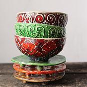 """Посуда ручной работы. Ярмарка Мастеров - ручная работа Набор пиал из серии """"Azure"""". Handmade."""