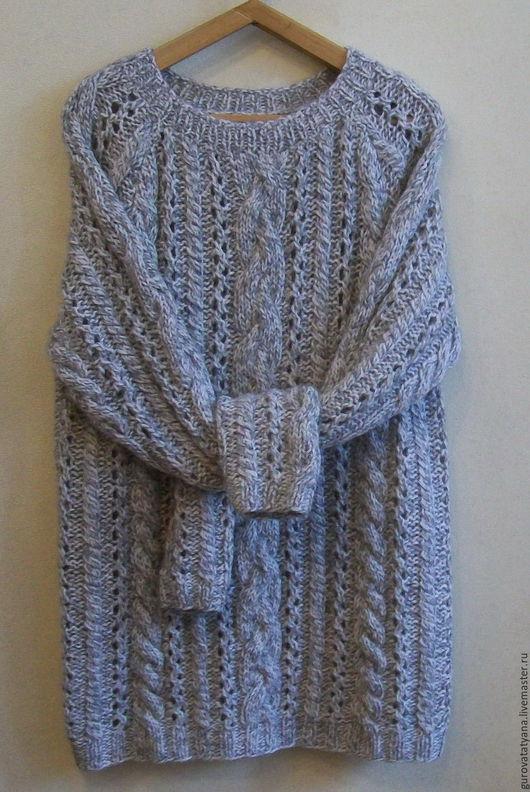 Кофты и свитера ручной работы. Ярмарка Мастеров - ручная работа. Купить Джемпер вязаный серый меланжевый со жгутами из пряжи Италии. Handmade.