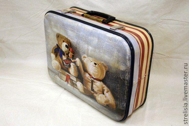 "винтажный чемодан ""Медвежата"""