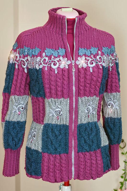 """Кофты и свитера ручной работы. Ярмарка Мастеров - ручная работа. Купить Вязаная куртка """"Герда"""". Handmade. Комбинированный, куртка на молнии"""