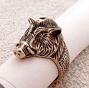 Фен-шуй и эзотерика handmade. Livemaster - original item Ring mens Boar`s ring-amulet of bronze.New God2019. Handmade.