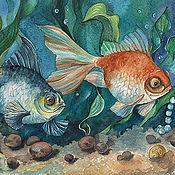 Картины и панно ручной работы. Ярмарка Мастеров - ручная работа Картина акварелью Золотые рыбки и сокровища. Handmade.