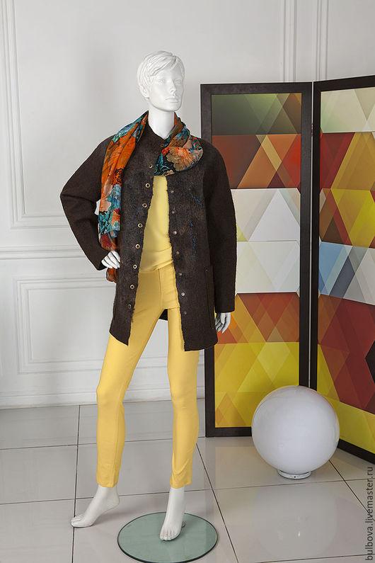 Верхняя одежда ручной работы. Ярмарка Мастеров - ручная работа. Купить Куртка шерстяная Дымка. Handmade. Коричневый, шерстяной, шоколадный