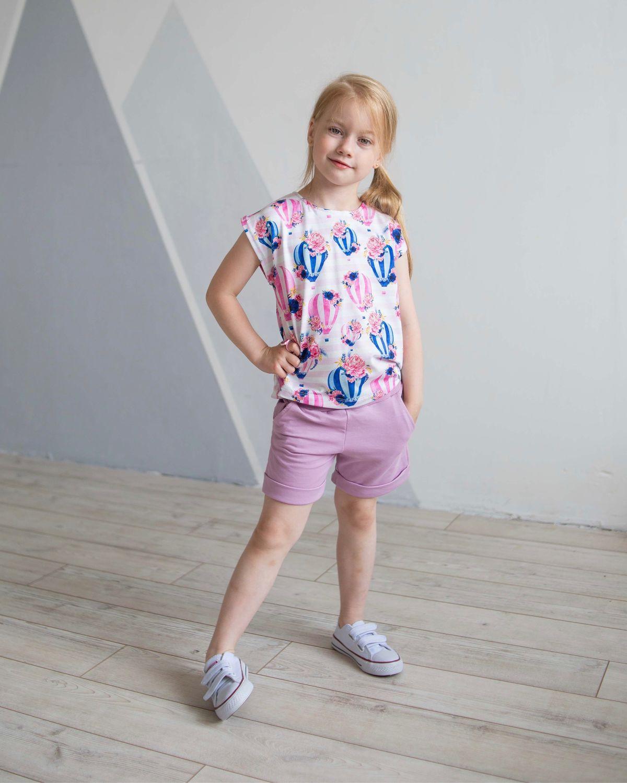 Одежда для девочек, ручной работы. Ярмарка Мастеров - ручная работа. Купить Летний комплект «Воздушные шары». Handmade. Футболка