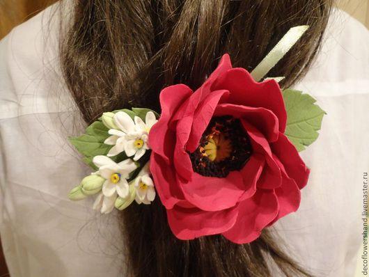 Цветы ручной работы. Ярмарка Мастеров - ручная работа. Купить Заколка для волос с маком. Handmade. Цветы, цветы ручной работы
