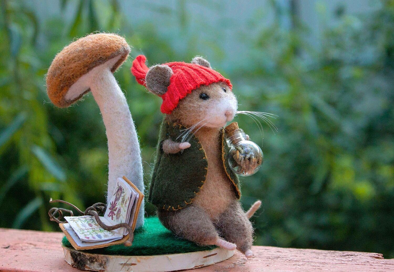 Мышь травник, Войлочная игрушка, Краснодар,  Фото №1