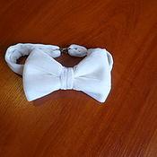 Свадебный салон handmade. Livemaster - original item Polar bear bow Tie, white velvet. Handmade.