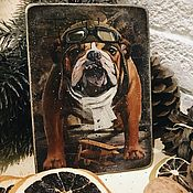 Подарки к праздникам handmade. Livemaster - original item Postcard wood - Dog Year. Handmade.