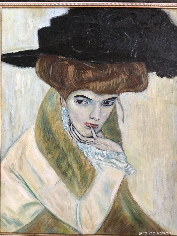 Портрет дамы в черной шляпе, Картины, Томск,  Фото №1