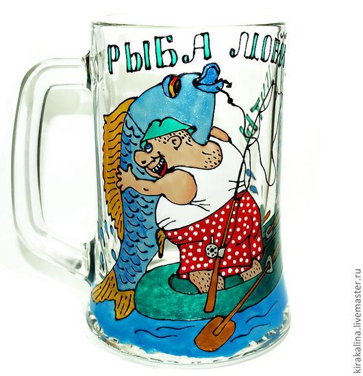 Кружки и чашки ручной работы. Ярмарка Мастеров - ручная работа. Купить Рыба моей мечты пивная кружка. Handmade. Рыбак