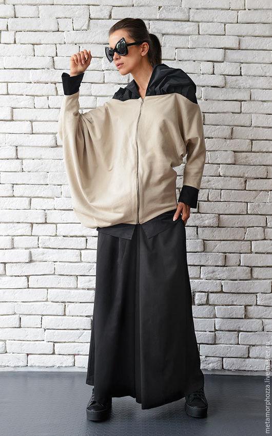 Верхняя одежда ручной работы. Ярмарка Мастеров - ручная работа. Купить Бежевая куртка, свободная куртка. Handmade. Бежевый