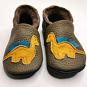 Одежда детская handmade. Livemaster - original item Baby Shoes with Yellow Dino, Leather Baby Shoes, Kids` Slippers. Handmade.