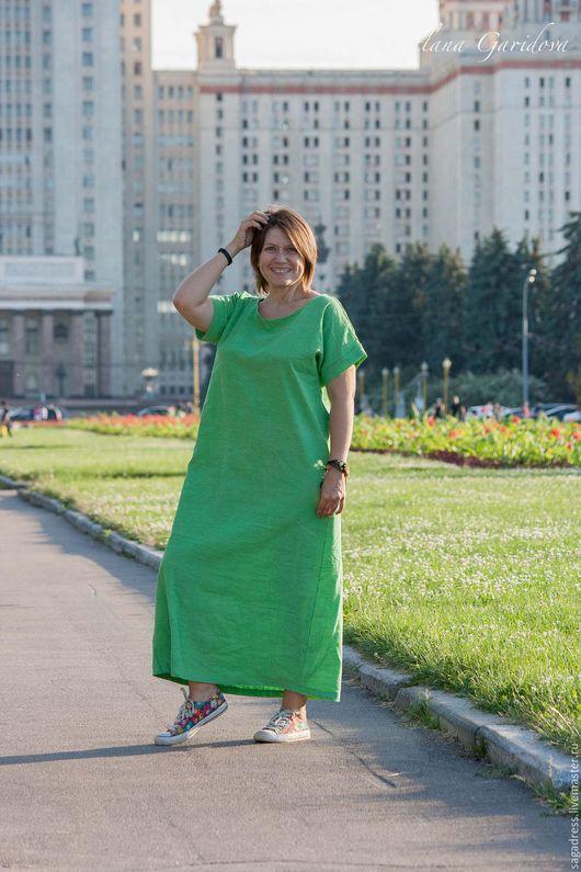 """Большие размеры ручной работы. Ярмарка Мастеров - ручная работа. Купить Длинное свободное платье """"Оригами 022 Green Apple"""". Handmade."""