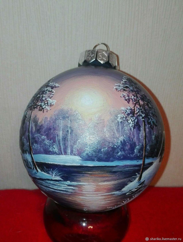 Елочный шар с ручной росписью, Елочные игрушки, Иркутск,  Фото №1