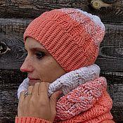 Аксессуары ручной работы. Ярмарка Мастеров - ручная работа Яркий комплект - шапка косами и снуд. Handmade.