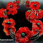 Украшения handmade. Livemaster - original item Jewelry set with poppies Indian summer lampwork. Handmade.