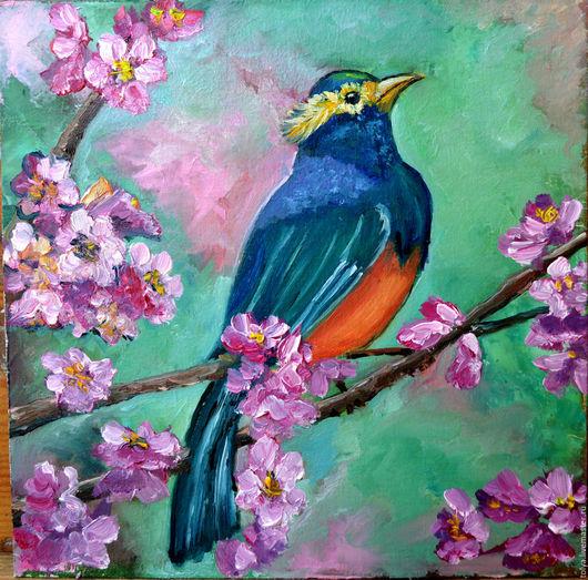 """Животные ручной работы. Ярмарка Мастеров - ручная работа. Купить """" Цветение"""". Handmade. Картина в подарок, картина маслом, птица"""