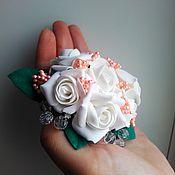 """Украшения ручной работы. Ярмарка Мастеров - ручная работа Заколка-автомат """"Букет белых роз"""".. Handmade."""