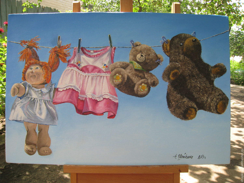 Картина маслом. .Мама постирала - на солнышке, Натюрморт, Сыктывкар, Фото №1