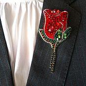 """Брошь-булавка ручной работы. Ярмарка Мастеров - ручная работа Брошь из бисера """"Красная роза"""". Handmade."""