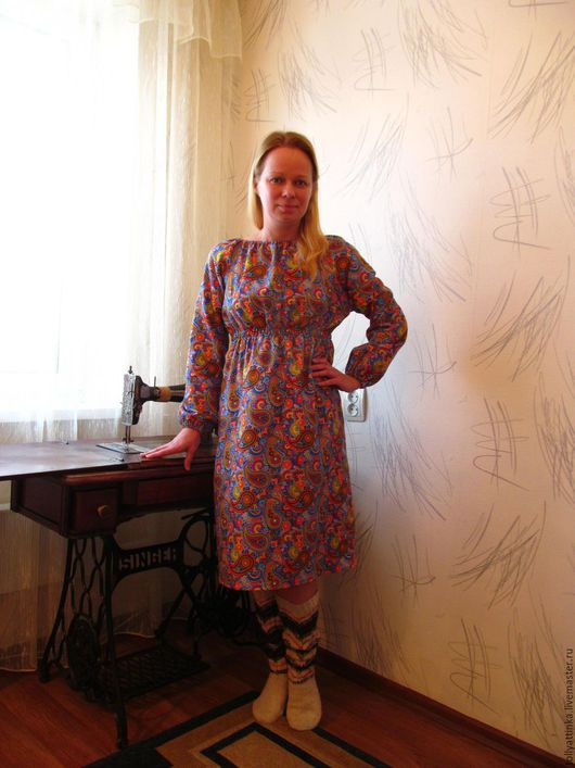 Платья ручной работы. Ярмарка Мастеров - ручная работа. Купить Теплое домашнее платье. Handmade. Комбинированный, теплое платье