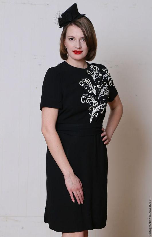Одежда. Ярмарка Мастеров - ручная работа. Купить Винтажное платье 1950-х годов с вышивкой. Handmade. Черный, винтажная одежда