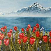 Картины и панно handmade. Livemaster - original item Painting Mountain landscape with flowers and water oil. Handmade.