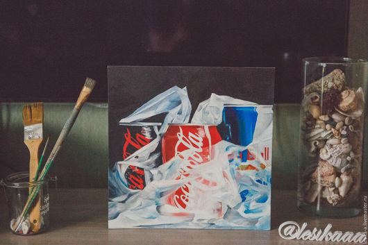 """Натюрморт ручной работы. Ярмарка Мастеров - ручная работа. Купить Картина маслом """"Вредные напитки"""". Handmade. Черный, напитки"""